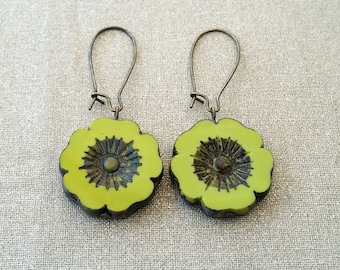 Green Hawaiian Flower Earrings