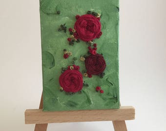 Red Rose Romance - Embroidery On Canvas - Miniature Art