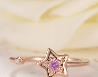 Pink Sapphire Ring Rose Gold Star Open Ring Cuff Unique Birthstone Adjustable Anniversary Gift Promise Ring Diamond Dainty Thin Mini Women