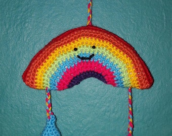 Rainbow with raindrops crocheted mobile