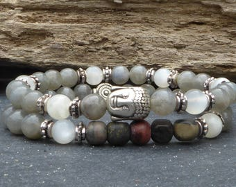 Labradorite, grey and white stone Buddha bracelets