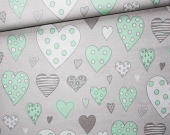 Hearts, 100% cotton fabric printed 50 x 160 cm, white and pastel green hearts on gray background