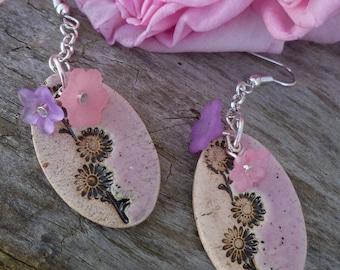 Ceramic earrings handmade lucite flowers