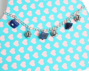 Shaman - Anklet with silver charms and dark blue stones