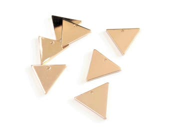 Set of 8 champagne gold triangle 16mm - DK - H7 charms
