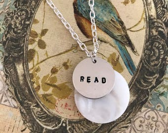 Read Necklace, Metal Stamped Necklace, Bookish Necklace, Book Nerd, Quote Necklace, Book Lover, Bookworm, Literary Gifts, Book Gifts, Read