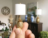 Miniature pineapple lamp - non working light - Dollhouse - Diorama - Roombox - 1:12 scale