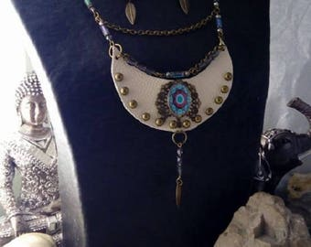 Leather and brass adornments