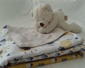 Minky baby blanket and cotton sheep House triangle