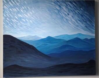 "Original Blue Mountain Acrylic Painting 20"" x 24"""
