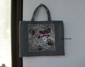 """gray fabric with pattern women handbag"" vintage """