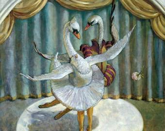 Dancing Swans, Swan Lake, Ballet, Children's Wall Décor, Children's Wall Art, Giclee Print on Canvas, Original Oil Painting, Canvas Print
