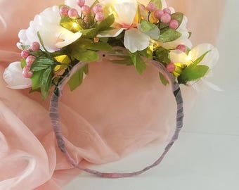Illuminated White and Pink Flower Crown