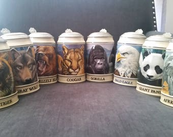 Lot of 8 Budweiser Endangered Species Collector Steins