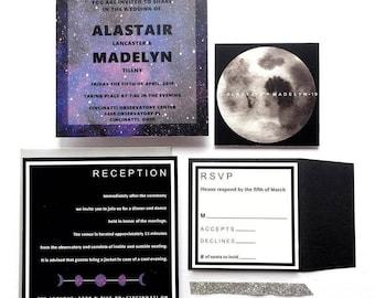 Modern Galaxy Moon Wedding Invitation Sets