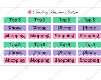48 Side Bar stickers for EC Vertical and Big Happy Planner - Top 3, Phone, Shopping
