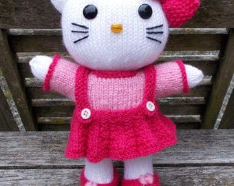 """KNITTING pdf tutorial/pattern: little cat and his 2 outfits """"inspired Hello Kitty"""""""