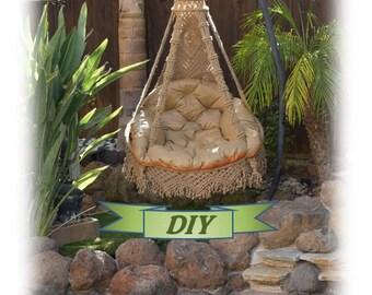 Swing chair, outdoor furniture, hanging chair, PDF pattern, macrame, DIY, pillows, gift, vintage, make to order, patio, idea, jute, metal