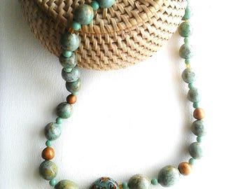 "Necklace ""Sarah"" Kallline création fimo beads"