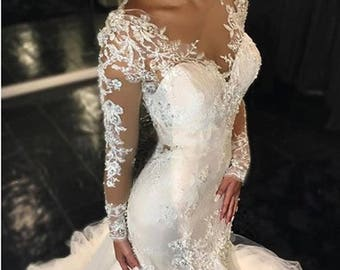 NAfuna - Dresses of bride luxury beaded lace Mermaid to long sleeve dress