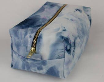 Large Navy Watercolour Hand-dyed Makeup Travel Bag // gifts for her, makeup storage, pencil case, cosmetics, toiletries