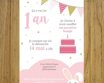 Customizable birthday invitation card pink, seagreen, mint