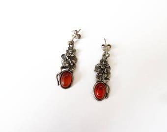 Boucles d'oreilles pendantes féeriques argent 925 et ambre, vintage