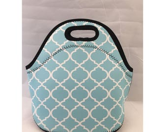 Lunch Bag | Kids Lunch Bag | Insulated Lunch Tote | Lunch Box | Office lunch bag | Holiday Gift | Teacher Gift Nurse Gift |Teal Moroccan
