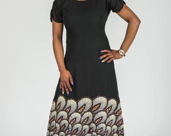 Chiffon and Stoned Africa Print Maxi Dress
