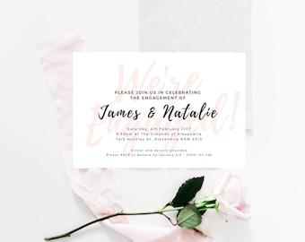 Custom Engagement Party Invitation, Printable Modern Invitation
