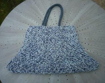 large mottled blue fancy knitting bag