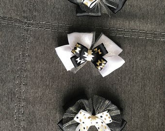 Black, Gold and White Hair Bow Set