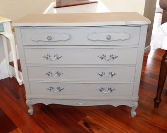 CUSTOM PAINTED Vintage 3 Drawer Dresser, French Provincial Shabby Chic