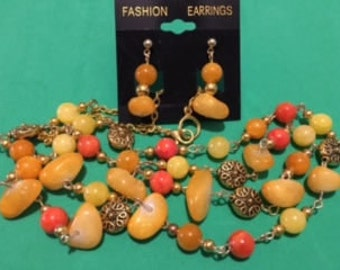 Apricot Necklace Set with Gold Spacers