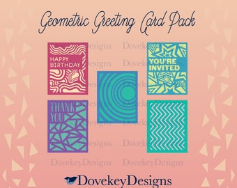 Geometric Greeting Card Pack for Cricut/Silhouette (svg)