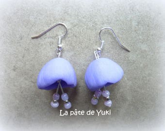 Handmade polymer clay purple flower earrings