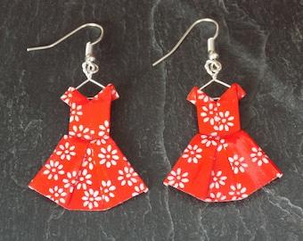 Earrings red origami dresses