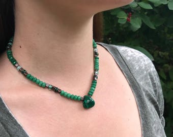 Malachite & Green Jade Necklace>>Transformation and Love<< Natural gemstone // Jade // Red  Copper // Healing // Glass beads