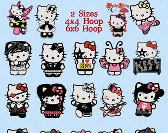 Hello Kitty Punk  Rock, 19 Machine Embroidery Designs PES Format, 2 sizes, 4x4 & 6x6 Hoop, Instant Download with CC