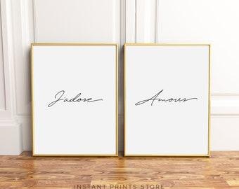 Set van 2 J'Adore Amour Frans citeer Print typografie Poster afdrukbare Art zwart wit Type Script Fashion moderne kalligrafie Parijs