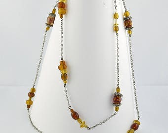 NECKLACE amber glass beads and metal chain
