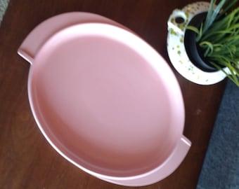 Vintage pink Boonton Melmac serving platter, Winged, Deco Style Handles, Atomic Era, mid Century
