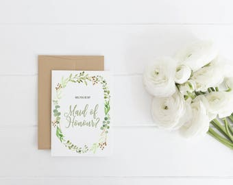MAID OF HONOUR Greeting Card | Be my Maid of Honour card | Maid of Honour Card | Wedding | Leafy Watercolour Card | Green | Botanical Card