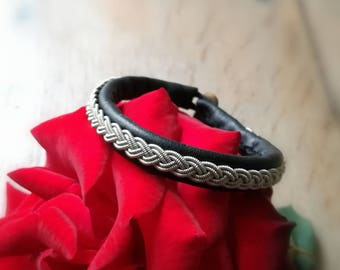 Black pewter wire silver leather Sami bracelet