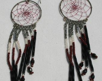Vintage Navajo Beaded Dream Catcher Earrings