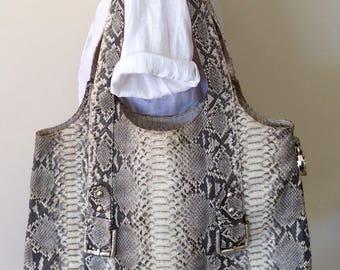 Python Snakeskin Leather Large Shoulder Bag Tote