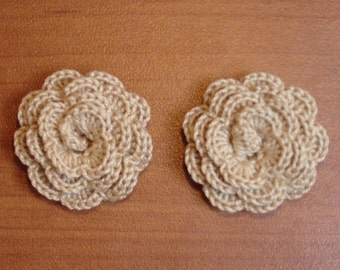 """set of 2 beige flowers crocheted """"pink style"""""""
