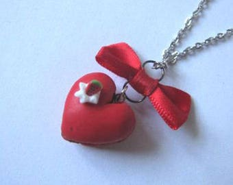 Macaroon necklace polymer clay Valentine red heart