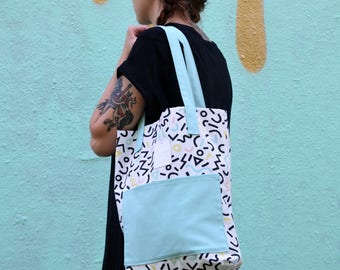 Canvas Bag, mint bag, black, white, faux leather, pattern, print, limited