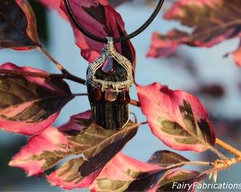 Black Tourmaline with Garnet Wire Woven Pendant